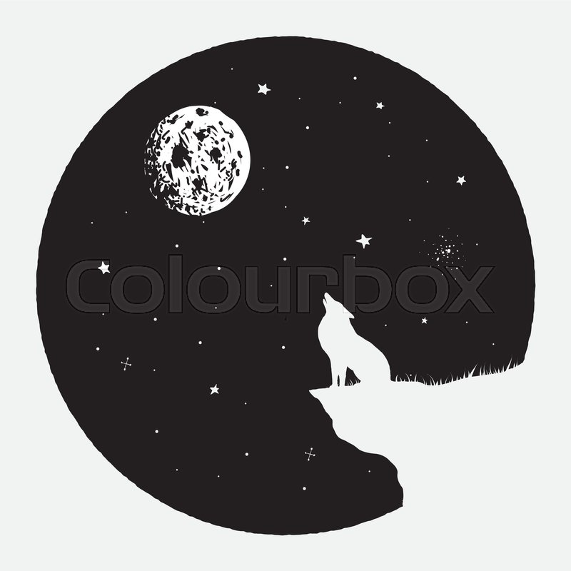 800x800 Wolf Sits On Breakage And Howling To Full Moon.vector Illustration