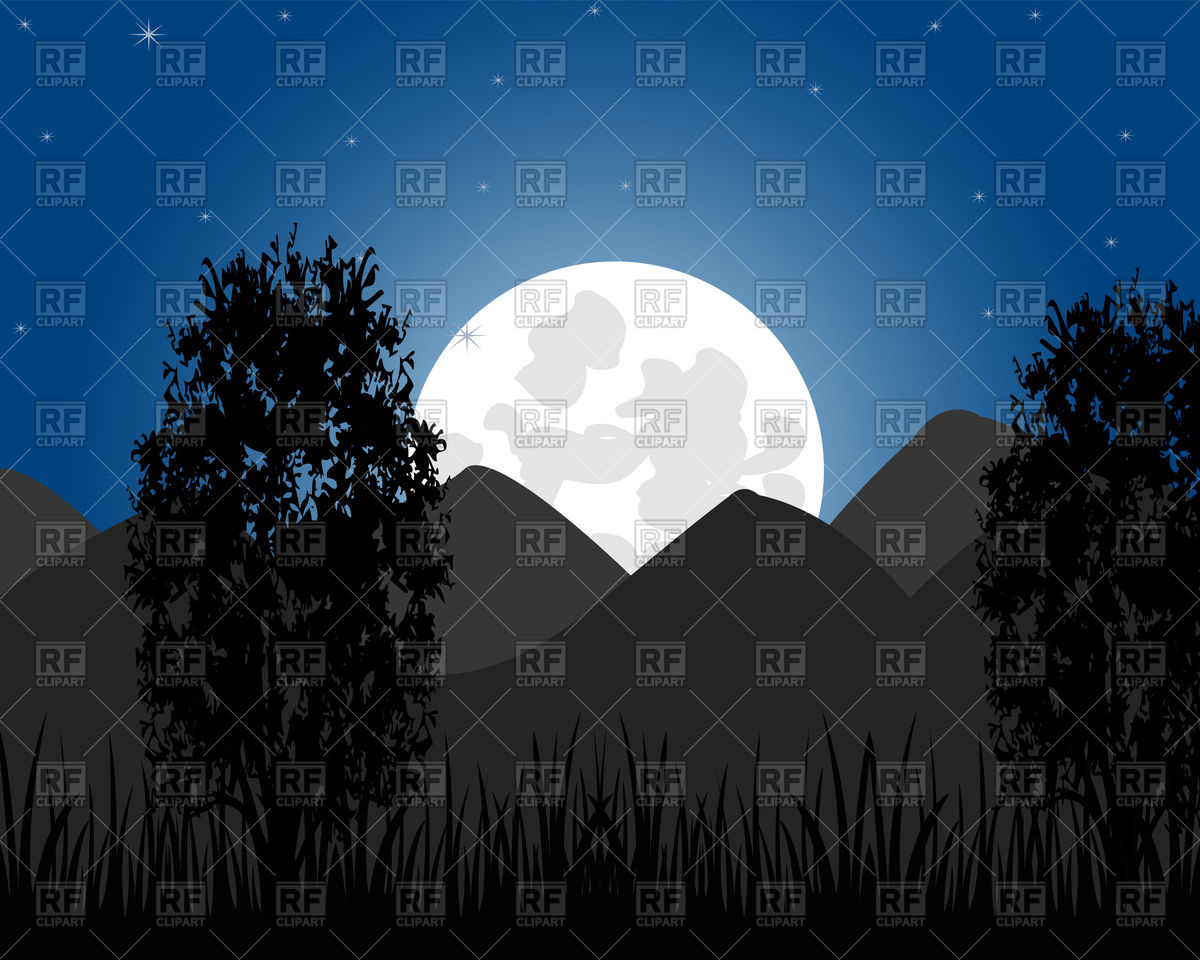 1200x960 Beautiful Night Landscape With Mountain And Moon Vector Image