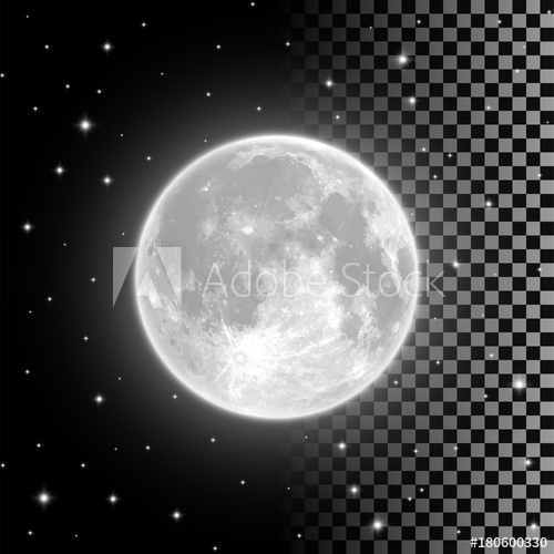 500x500 Bright Full Moon In The Clear Night Sky And Isolated On