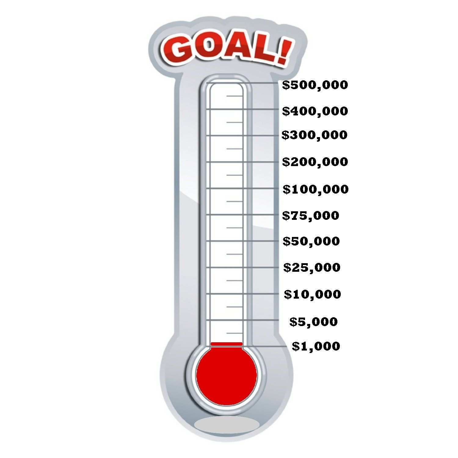 1500x1500 Fundraising Thermometer Template Printable Majestic Post Fill