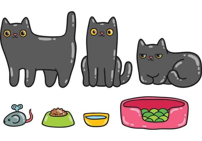 700x490 Cute Black Cat Vector Pack