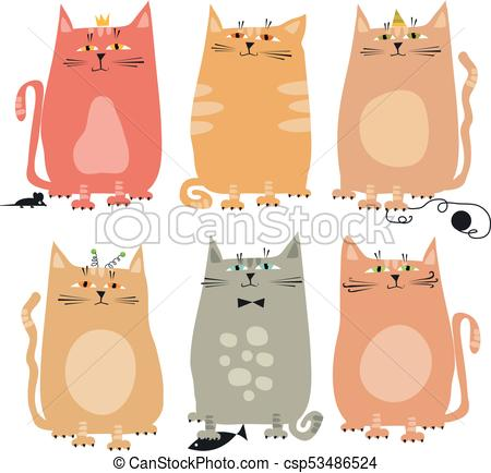 450x434 Cute Style Set Of Funny Cat Vector Illustration.