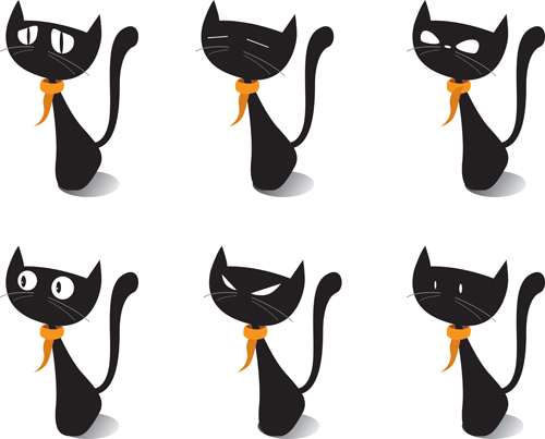500x403 Funny Black Cat Design Vector 04 Free Download