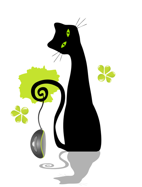 500x657 Funny Black Cat Design Vector 05 Free Download
