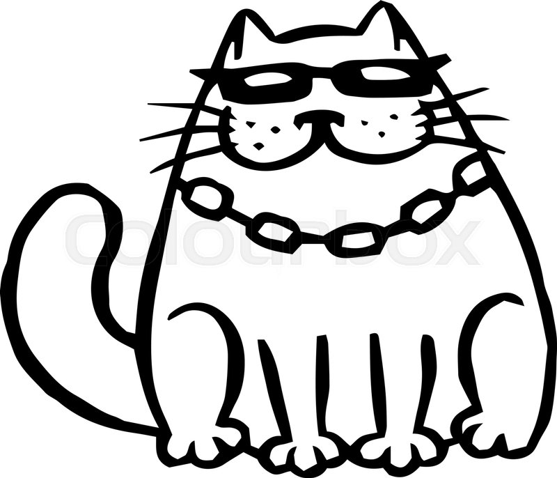 800x686 Bandit Cat In Black Glasses. Funny Cartoon Cool Character. Contour