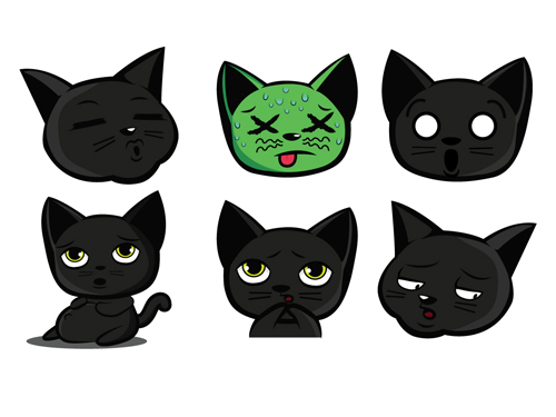 500x375 Funny Black Cat Vector 01 Free Download