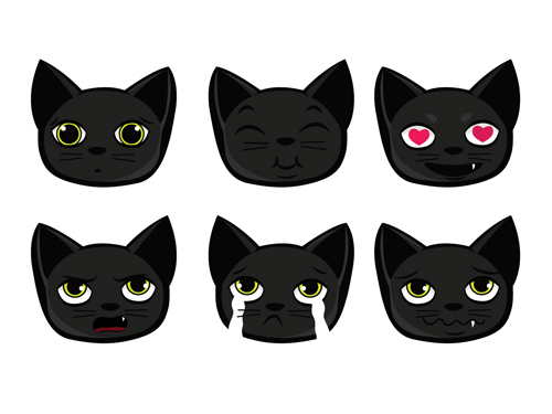 500x375 Funny Black Cat Vector 02