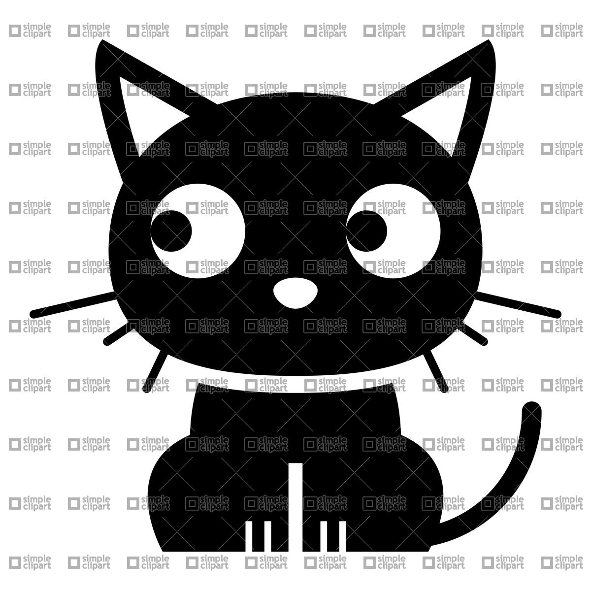 1200x1200 Funny Cartoon Black Cat Vector Image