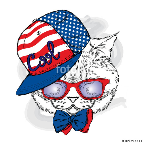 500x500 Funny Cat In A Cap And Glasses. Cool Cat. Vector Illustration