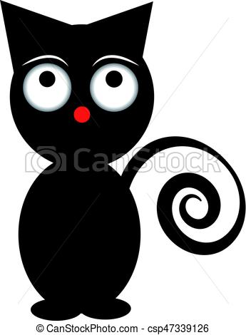 345x470 Black Funny Cat Isolated On White Background. Vector Illustration.