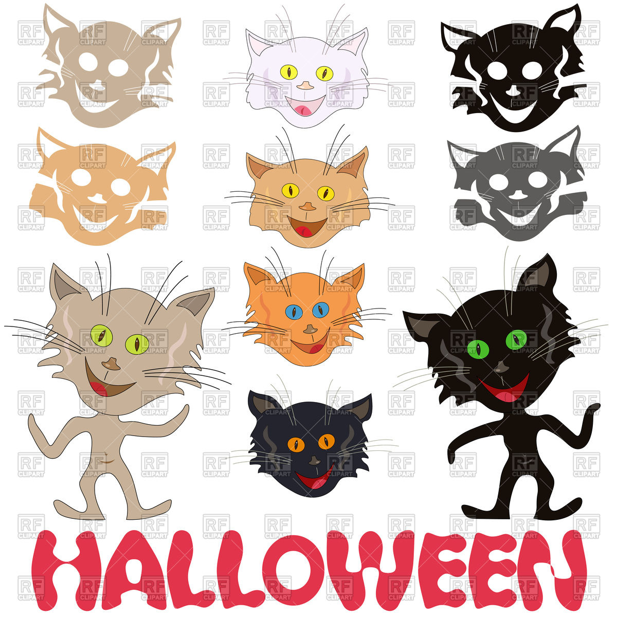 1200x1200 Halloween Set Of Funny Cats Vector Image Vector Artwork Of
