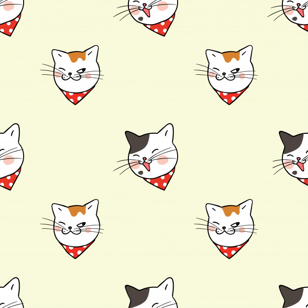 626x626 Seamless Pattern Background Funny Cat Vector Premium Download