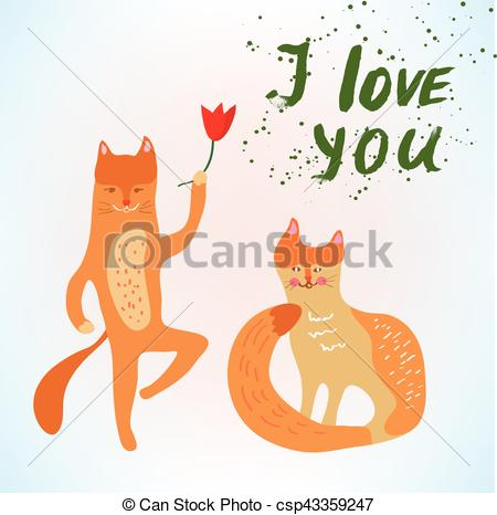450x466 Valentine Love Card With Funny Cats