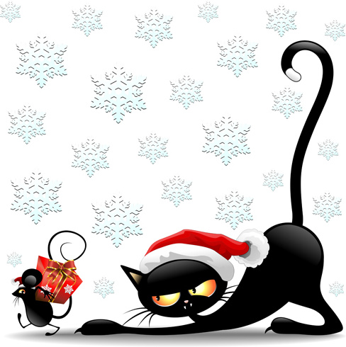 488x490 Christmas Funny Cats Vector Free Vector In Encapsulated Postscript
