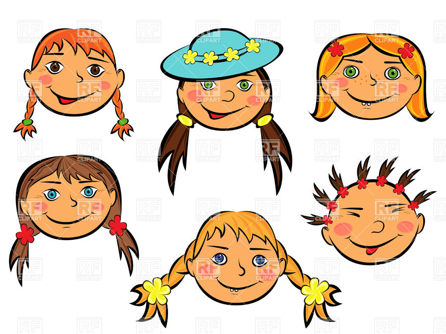 900x675 Funny Cartoon Faces Of Smiling Teen Girls And Boys Vector Image