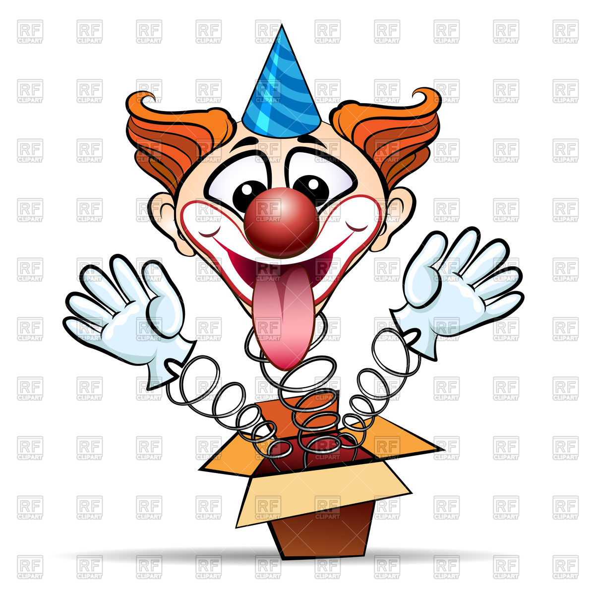 1200x1200 Funny Laugthing Clown Jumps Out Of Surprised Box Vector Image