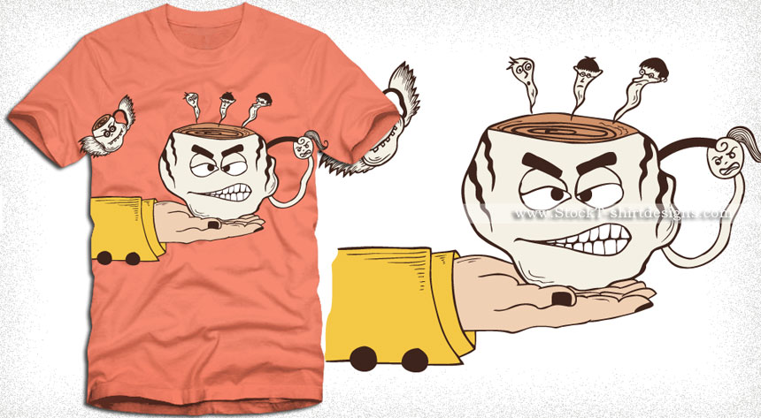860x473 Hand Holding A Funny Cartoon Coffee Cup T Shirt Design Vector