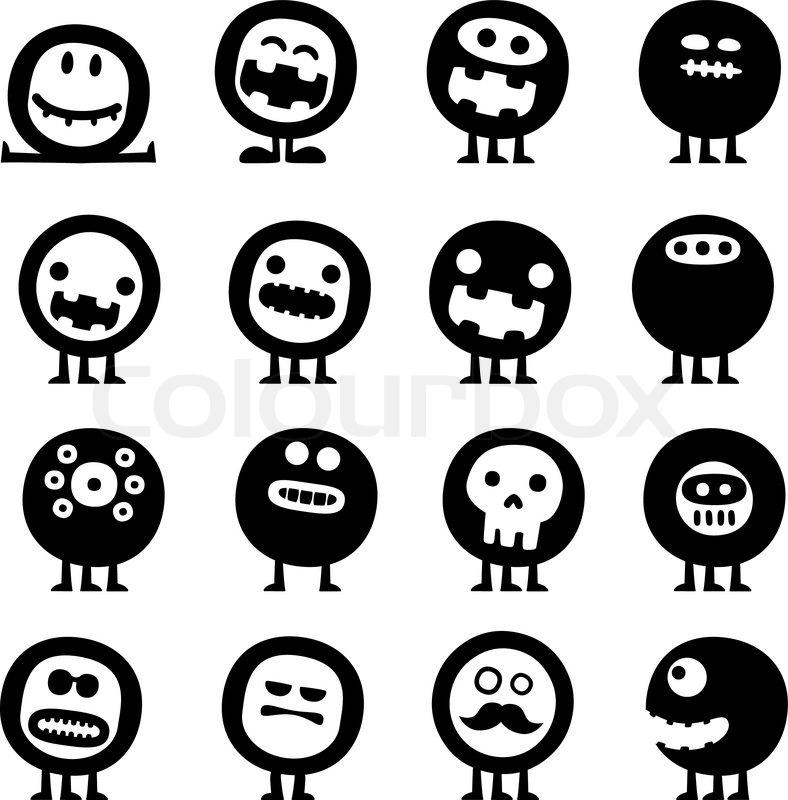 788x800 Collection Of Cartoon Funny Vector Monsters Silhouettes Stock