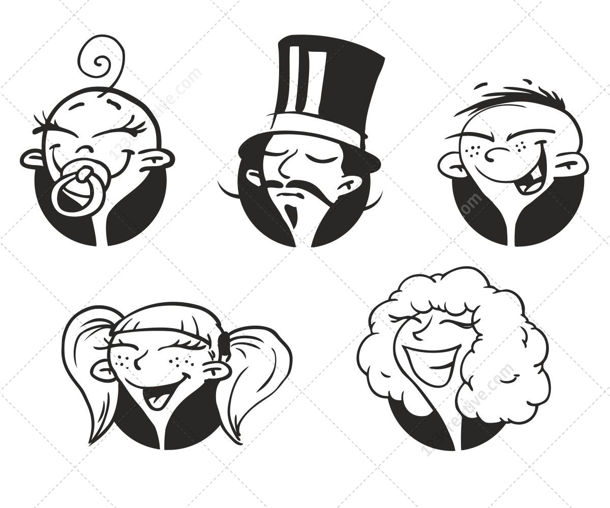 1200x1000 Funny Faces Vector Pack