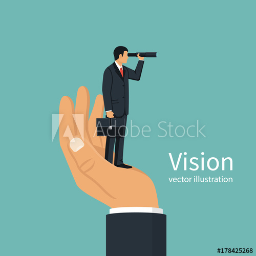 500x500 Vision Business Concept. Successful Businessman Looking In