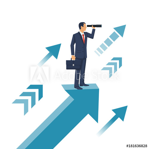 500x500 Businessman Standing On Arrow With Telescope In Hand. Vision