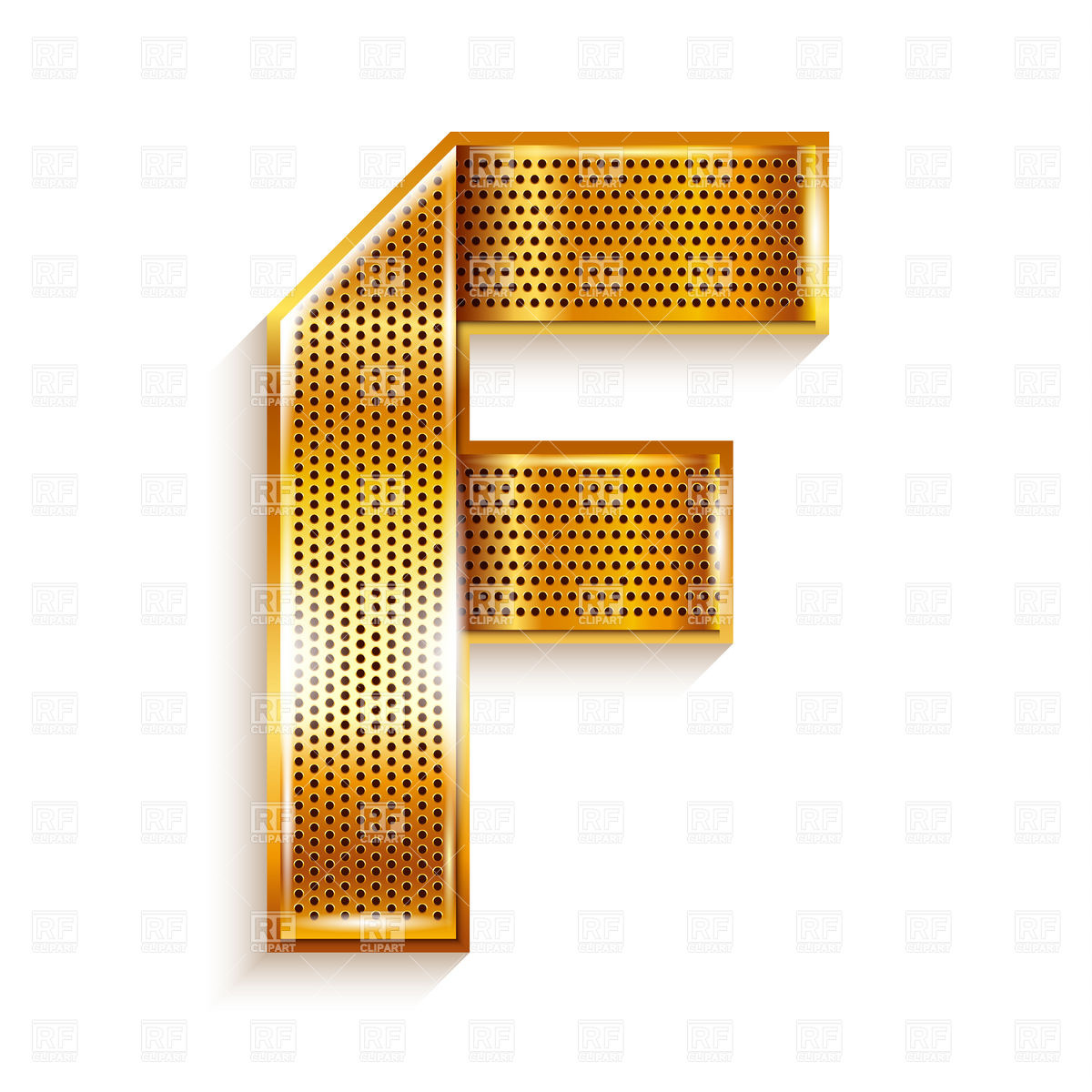 1200x1200 Alphabet Made Of Golden Perforated Tape, Letter F Vector Image