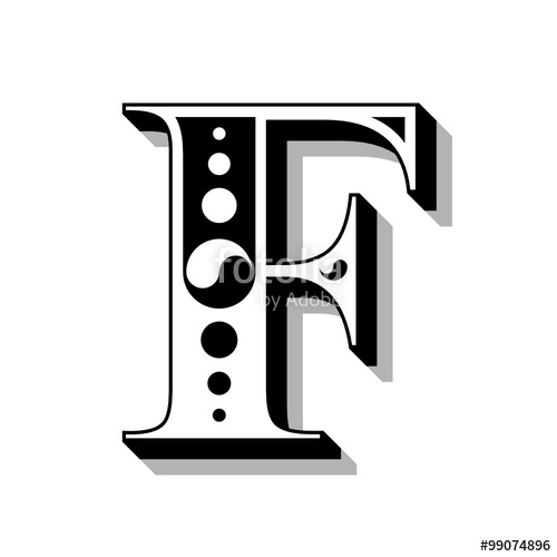 500x500 Classic Vintage Font, Letter F, Vector. Stock Image And Royalty