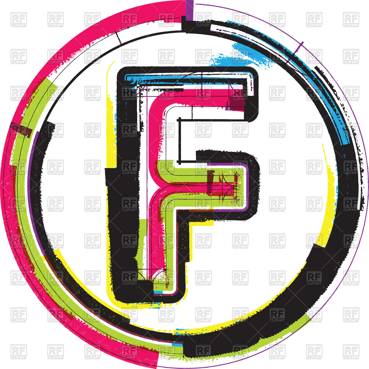 1199x1200 Colorful Motley Letter F Vector Image Vector Artwork Of Fonts