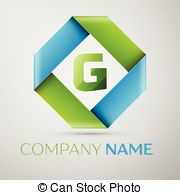 180x195 G Letter Line Colorful Logo. Abstract Trendy Green And Blue Vector