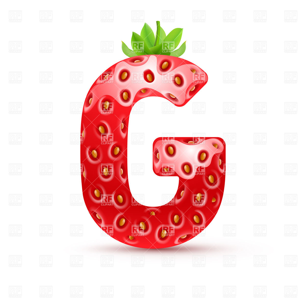 1200x1200 Strawberry Style Font, Letter G Vector Image Vector Artwork Of