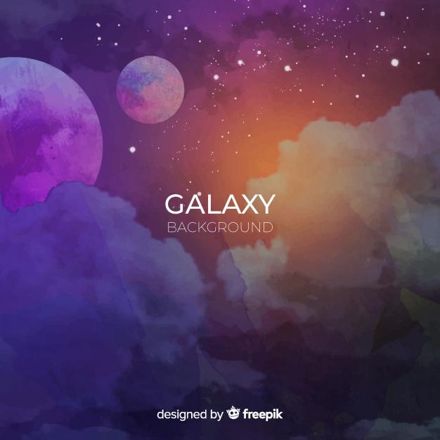 626x626 Galaxy Vector Watercolor Stars Moon Pretty