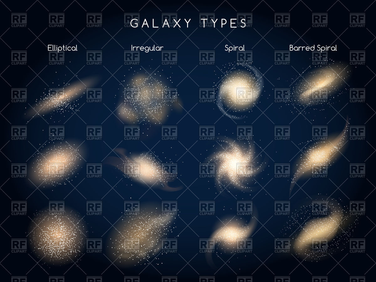 1200x900 Galaxy Morphological Classification Types Icons Vector Image