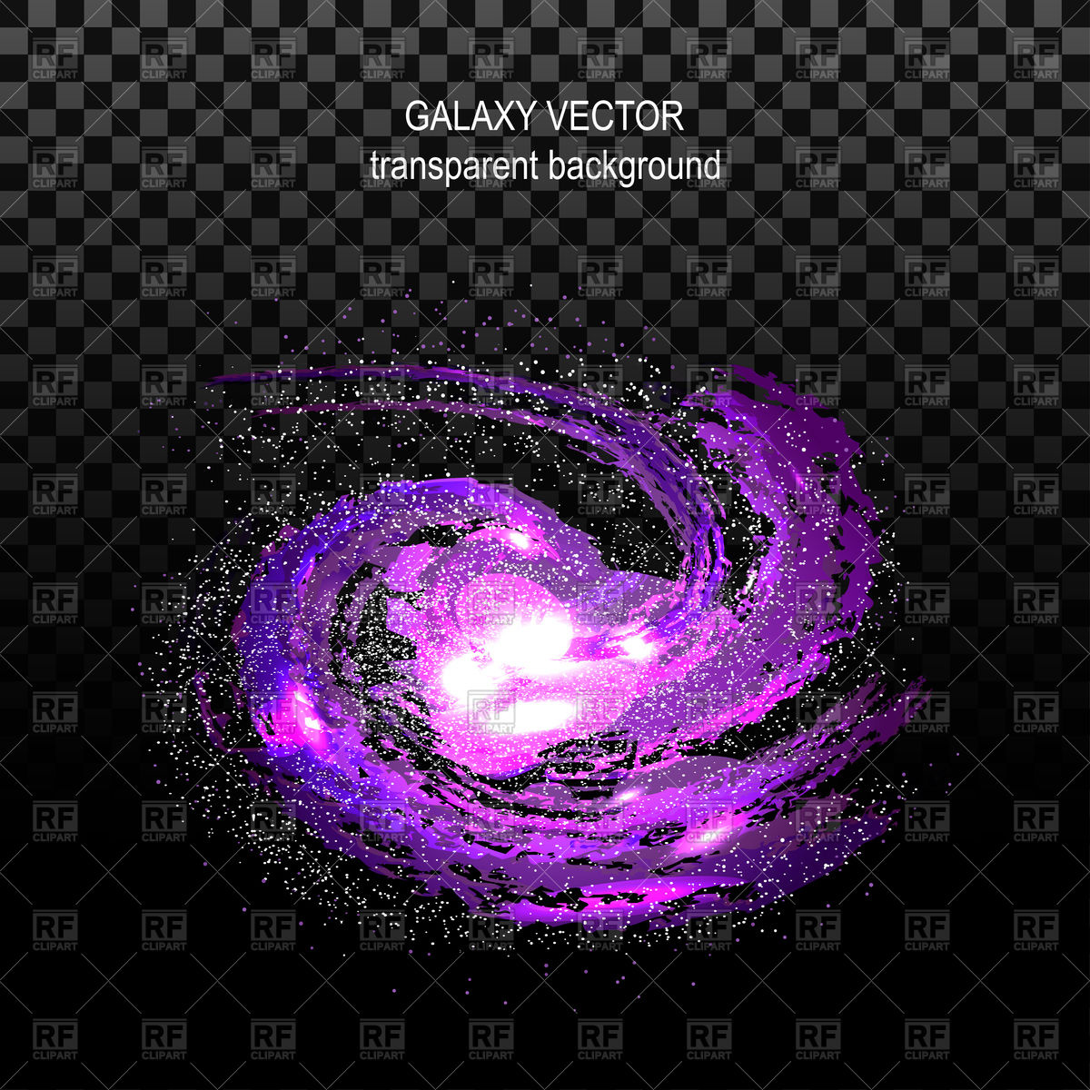1200x1200 Violet Spiral Galaxy On Transparent Black Background Vector Image