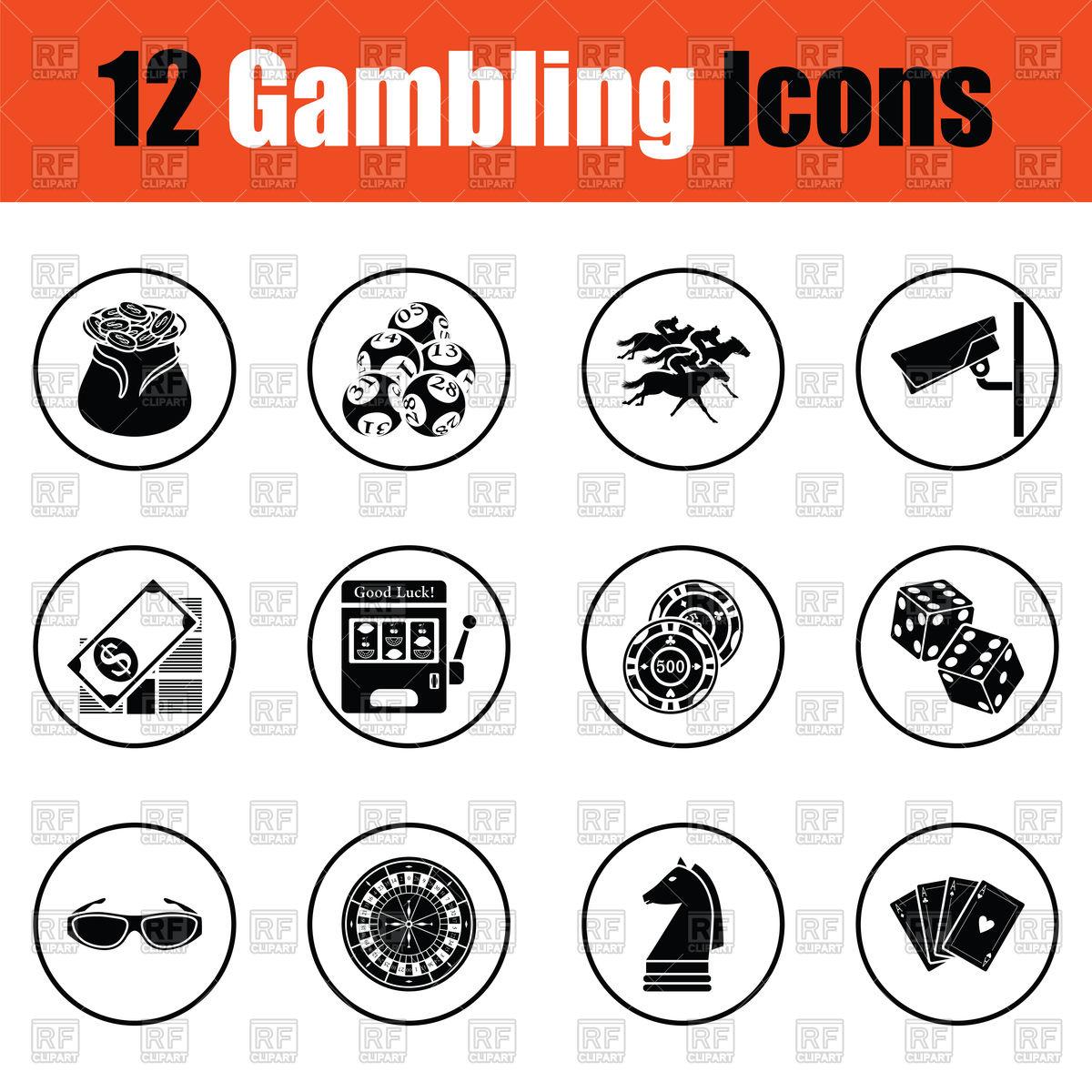 1200x1200 Gambling Icon Set Chess, Lottery, Horse Racing, Poker Vector