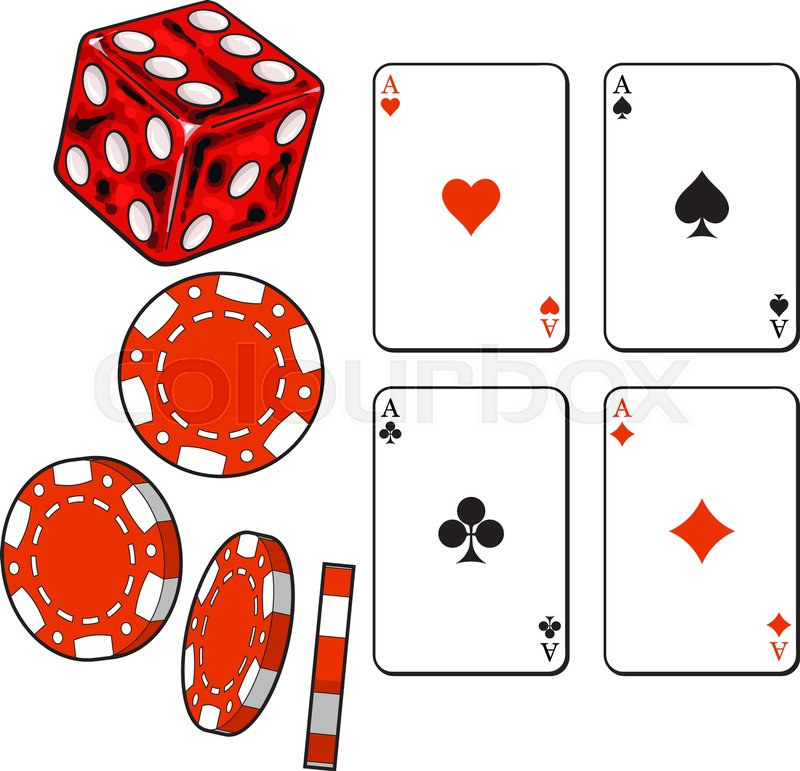 800x771 Set Of Heart, Spade, Clubs And Diamond Ace Play Cards, Dice And