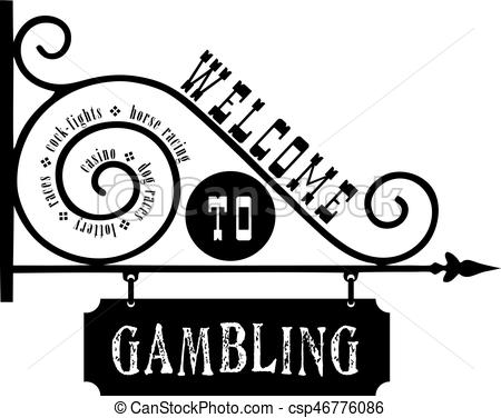 450x376 Street Sign Welcome To Gambling. Vector Illustration.