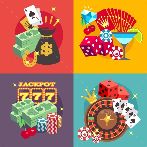 590x590 Casino Gambling Vector Concept Set With Win Money By Microvone