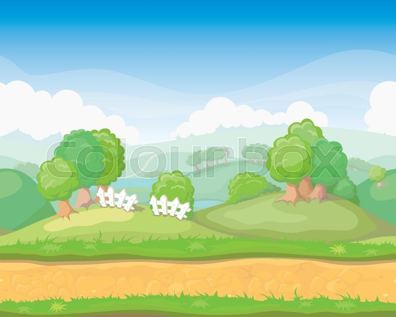 800x640 Cartoon Cute Country Seamless Horizontal Landscape, Game