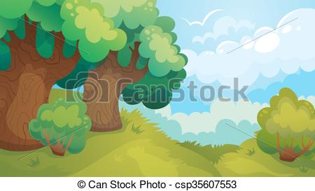 450x273 Forest Glade Game Background. Vector Cartoon Game Landscape Of