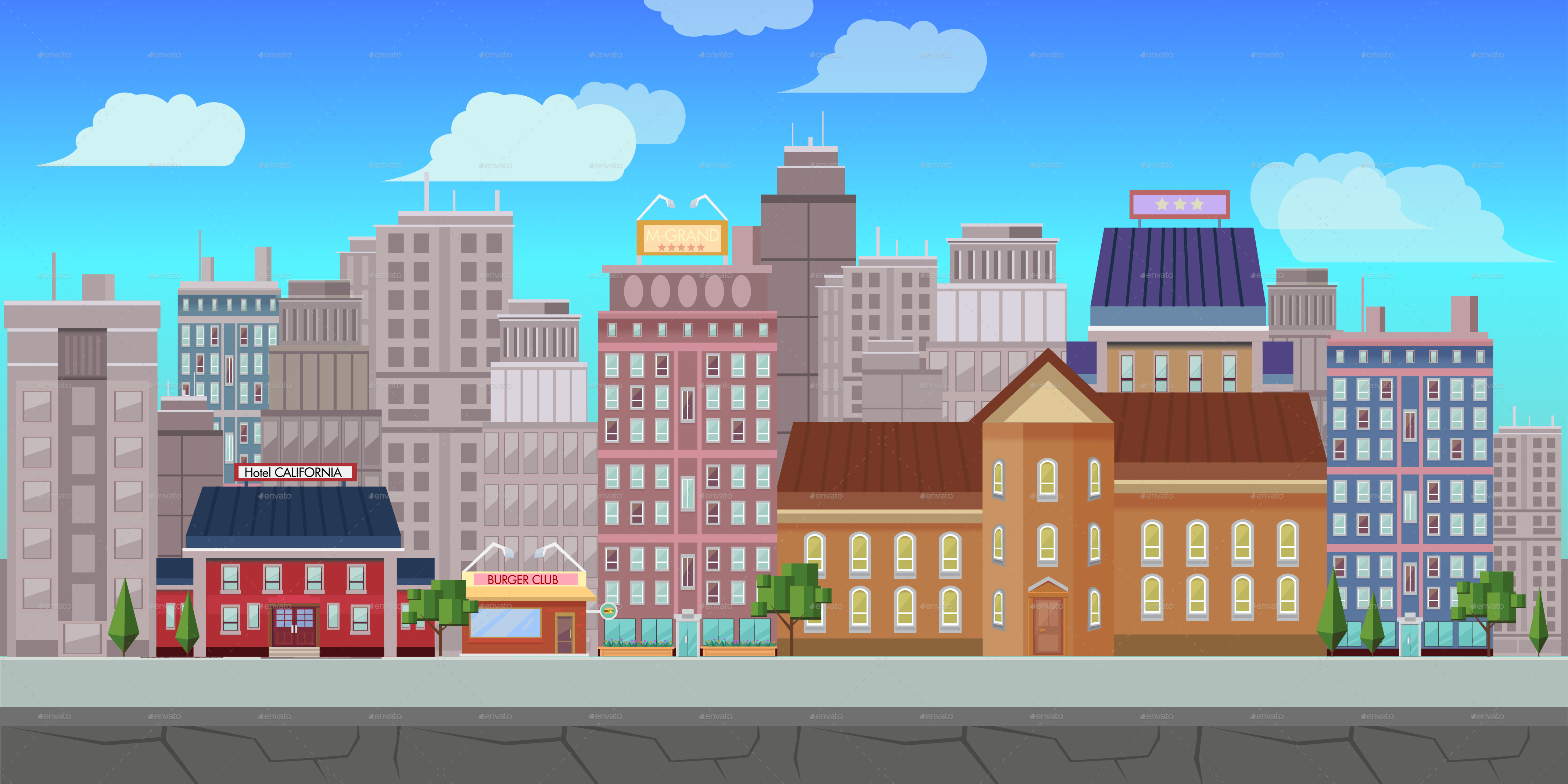 4267x2133 Fresh City Game Background Vector By Vitaliyvill Graphicriver