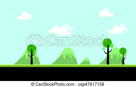 450x290 Landscape Hill Cartoon Style Game Background Vector Art.