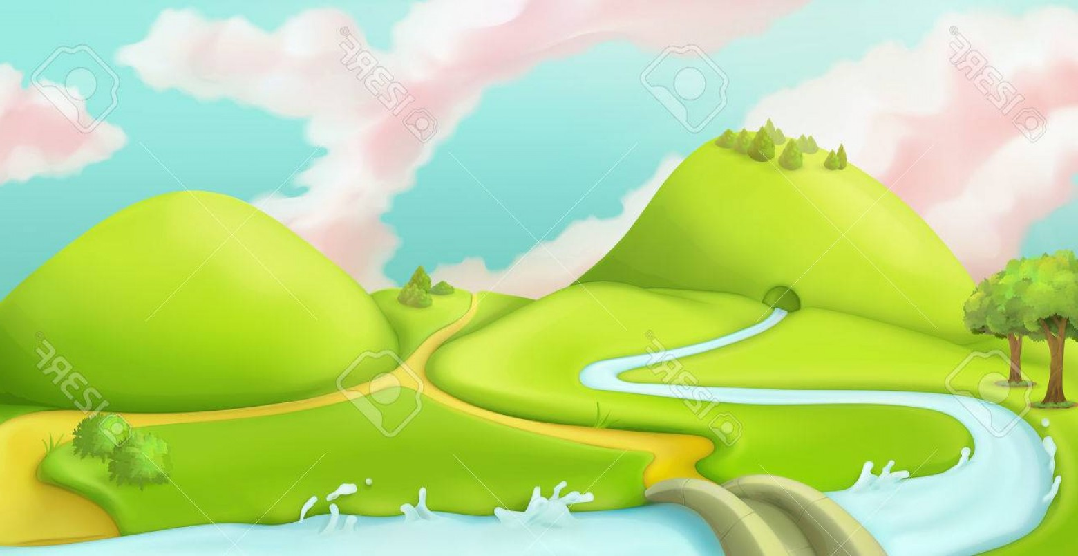 1560x804 Photostock Vector Nature Landscape Cartoon Game Background Vector
