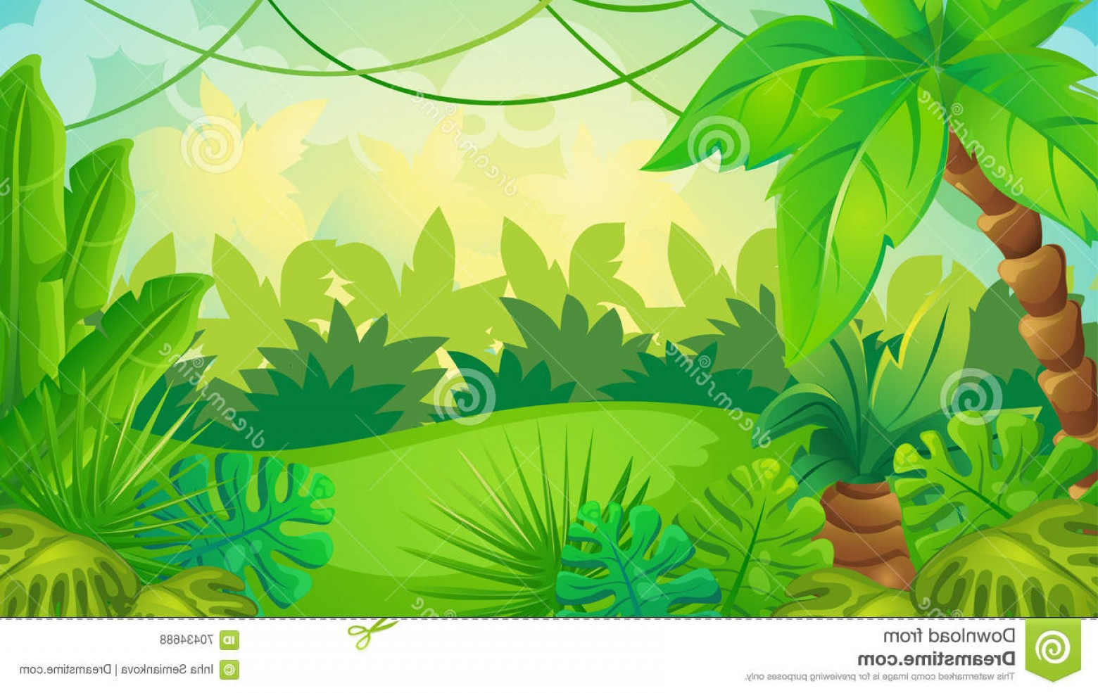 1560x985 Stock Illustration Cartoon Jungle Game Background Vector Green
