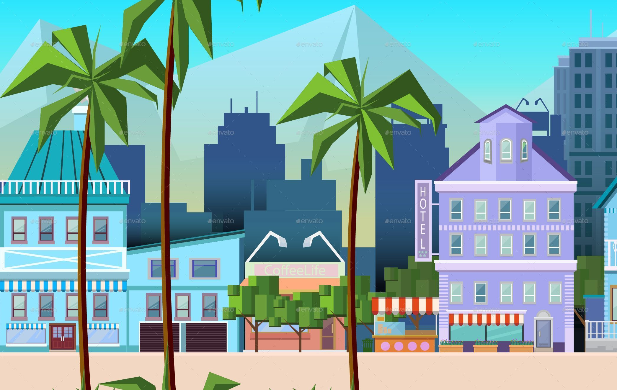 2090x1322 Sunny California City Game Background Vector By Vitaliyvill