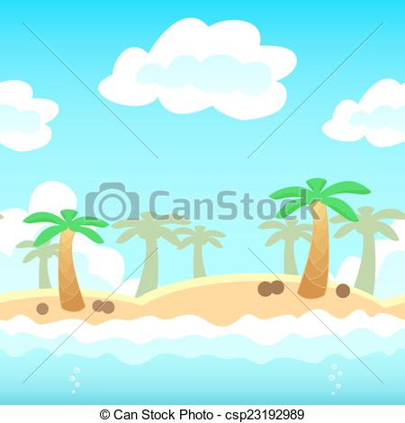 450x470 Beach Game Background. Beach Background With Palm, Water And Cloud