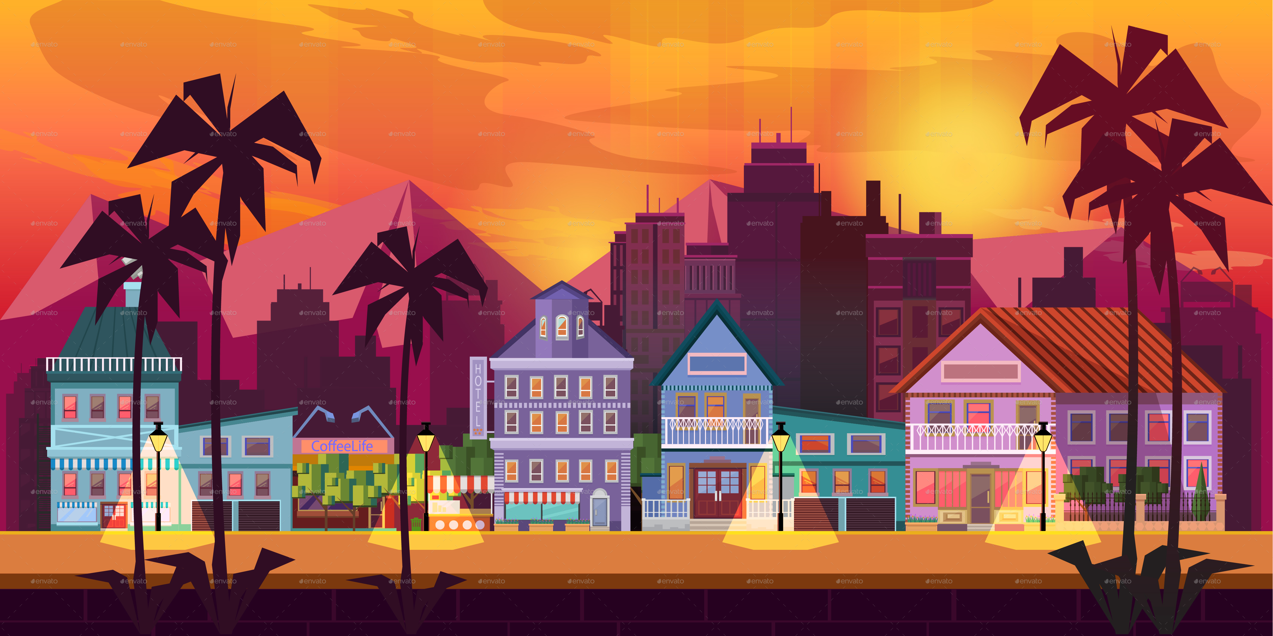 4268x2133 California Dreaming Game Background Vector Panorama By Vitaliyvill