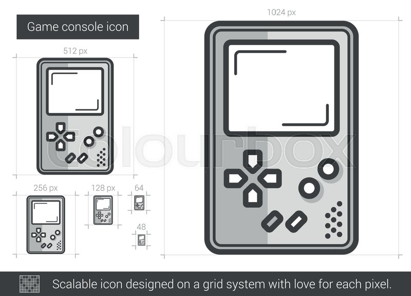 800x576 Game Console Vector Line Icon Isolated On White Background. Game