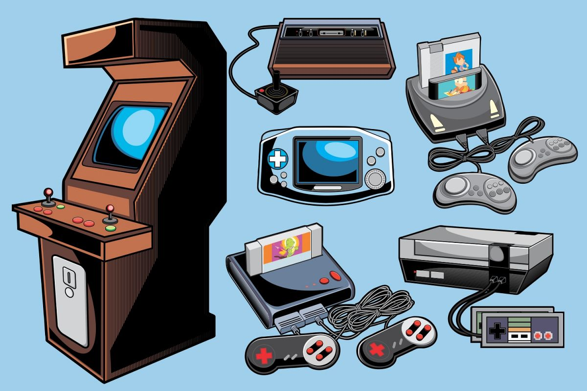 1200x800 Retro Game Console Vector Pack