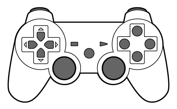 600x369 Seventh Generation 4 Button Shock Video Game Controller Vector