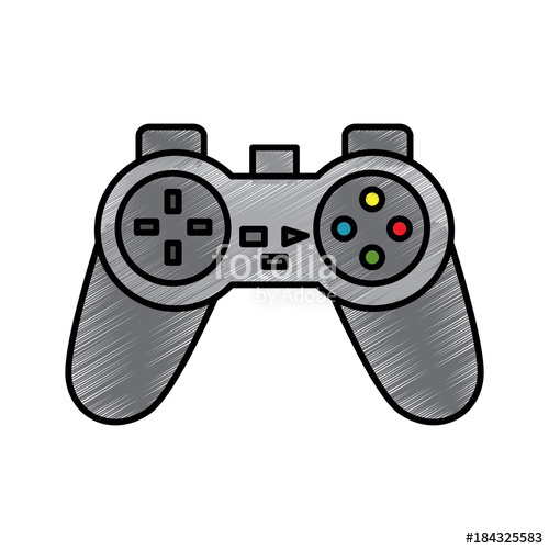 500x500 Video Game Console Joystick Control Buttons Vector Illustration